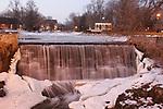 Mill pond park in Midwest America, Menomonee Falls Wisconsin in winter