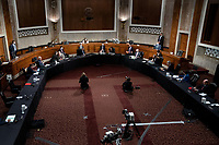 An overhead view of a United States Senate Judiciary Committee business meeting to consider authorization for subpoenas relating to the Crossfire Hurricane investigation and other matters on Capitol Hill in Washington, DC on June 11, 2020. <br /> Credit: Erin Schaff / Pool via CNP/AdMedia