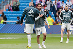 Real Madrid's Karim Benzema (L) and Francisco Alarcon 'Isco' (R) during La Liga match between Real Madrid and SD Eibar at Santiago Bernabeu Stadium in Madrid, Spain.April 06, 2019. (ALTERPHOTOS/A. Perez Meca)
