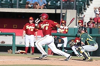 Adalberto Carrillo (8) of the Southern California Trojans bats during a game against the Oregon Ducks at Dedeaux Field on April 18, 2015 in Los Angeles, California. Oregon defeated Southern California, 15-4. (Larry Goren/Four Seam Images)