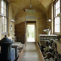 A passageway is used as a repository for bits of ancient marble that came from Roman excavations, souvenirs from travels and pieces from Canova's studio