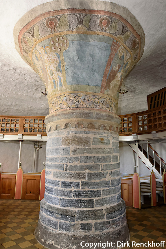 Fresken aus dem 13.Jh. in der  Rundkirche Nylars Kirke (12.Jh.) auf der Insel Bornholm, Dänemark, Europa<br /> Frescoes (13.c.) in  round church Nylars Kirke (12.c.), Isle of Bornholm Denmark
