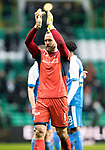 Celtic v St Johnstone…18.02.18…   Celtic Park    SPFL<br />Alan Mannus applauds the fans at full time<br />Picture by Graeme Hart. <br />Copyright Perthshire Picture Agency<br />Tel: 01738 623350  Mobile: 07990 594431