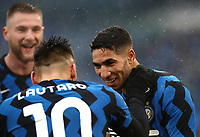Football, Serie A: AS Roma -  FC Internazionale Milano, Olympic stadium, Rome, January 10, 2021. <br /> Inter's Achraf Hakimi (r) celebrates after scoring with his teammate Lautaro Martinez (l) during the Italian Serie A football match between Roma and Inter at Rome's Olympic stadium, on January 10, 2021.  <br /> UPDATE IMAGES PRESS/Isabella Bonotto