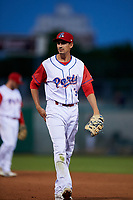 Stockton Ports first baseman Luke Persico (3) during a California League game against the Rancho Cucamonga Quakes at Banner Island Ballpark on May 16, 2018 in Stockton, California. Rancho Cucamonga defeated Stockton 6-3. (Zachary Lucy/Four Seam Images)