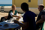 Eating lunch at the cafe in Farol in the Ria Formosa Natural Park in Portugal