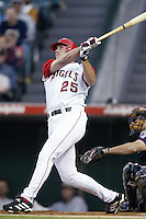 Troy Glaus of the Los Angeles Angels bats during a 2002 MLB season game at Angel Stadium, in Anaheim, California. (Larry Goren/Four Seam Images)