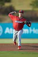 Lakewood BlueClaws starting pitcher Andrew Brown (4) in action against the Kannapolis Intimidators at Kannapolis Intimidators Stadium on July 7, 2018 in Kannapolis, North Carolina. The Intimidators defeated the BlueClaws 4-3 in 10 innings.  (Brian Westerholt/Four Seam Images)