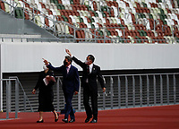 8th October 2020, Tokyo, Japan;  World Athletics President Sebastian Coe wearing a protective face mask inspects the National Stadium, the main stadium of Tokyo 2020 Olympics and Paralympics, in Tokyo, Japan