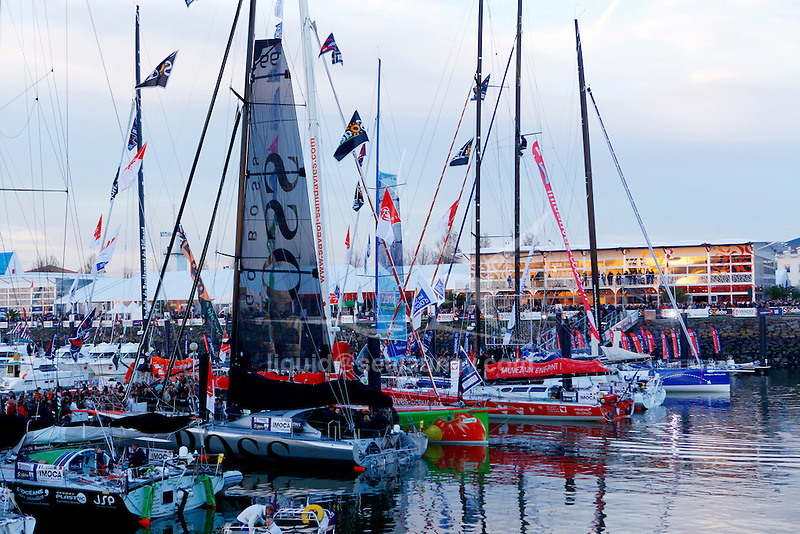 Alex Thomson Racing Hugo Boss before the start of the  Vendée Globe in Les Sables d'Olonne, Vendée, France..The Vendée Globe is a round-the-world single-handed yacht race, sailed non-stop and without assistance.