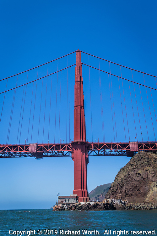 Approaching the Golden Gate Bridge  from San Francisco Bay along the Marin or north side.