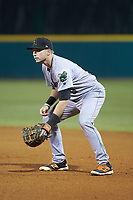 Augusta GreenJackets first baseman Ryan Kirby (9) on defense against the Greensboro Grasshoppers at First National Bank Field on April 10, 2018 in Greensboro, North Carolina.  The GreenJackets defeated the Grasshoppers 5-0.  (Brian Westerholt/Four Seam Images)