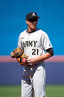 Army West Point first baseman John McKenna (21) during a game against the Michigan Wolverines on February 17, 2018 at First Data Field in St. Lucie, Florida.  Army defeated Michigan 4-3.  (Mike Janes/Four Seam Images)