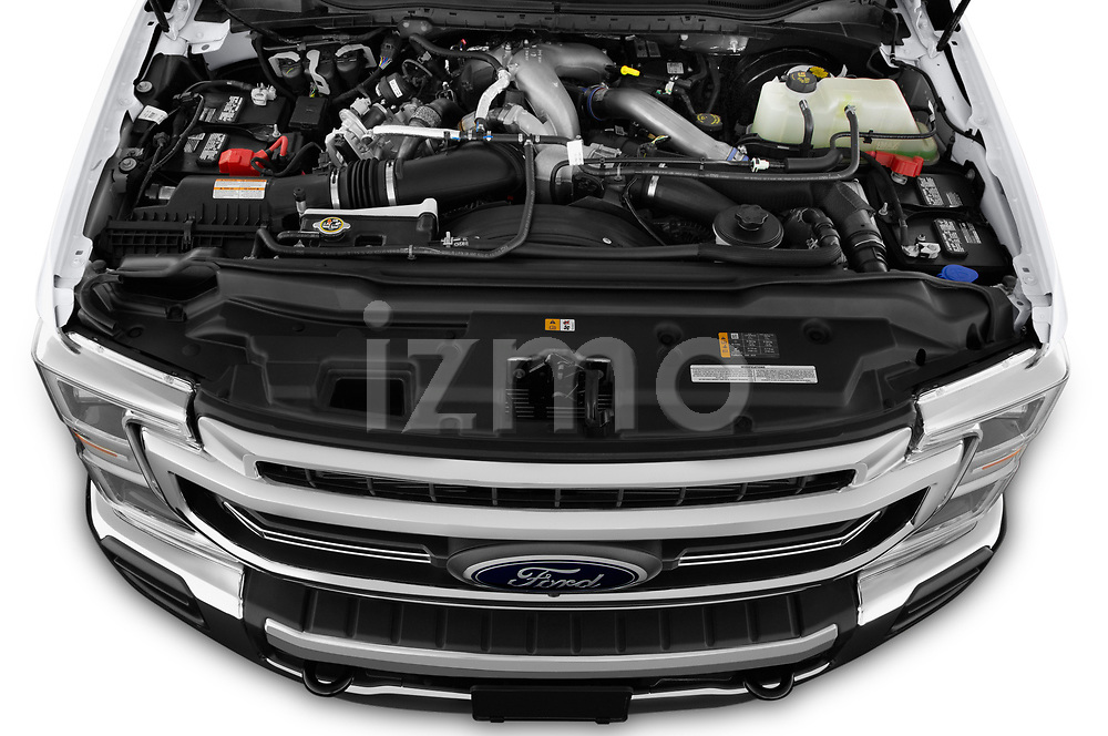 Car Stock 2021 Ford F-250-Super-Duty Lariat 4 Door Pick-up Engine  high angle detail view