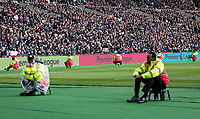 Stewards surround the pitch with Premier League advertising boards behind during the EPL - Premier League match between West Ham United and Southampton at the Olympic Park, London, England on 31 March 2018. Photo by Andy Rowland.