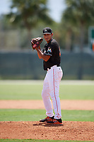 GCL Marlins relief pitcher Giovanni Lopez (23) delivers a pitch during a game against the GCL Cardinals on August 4, 2018 at Roger Dean Chevrolet Stadium in Jupiter, Florida.  GCL Marlins defeated GCL Cardinals 6-3.  (Mike Janes/Four Seam Images)