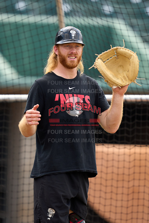 Lansing Lugnuts catcher William Simoneit (18) during practice before a game against the West Michigan Whitecaps on August 24, 2021 at Jackson Field in Lansing, Michigan.  (Mike Janes/Four Seam Images)