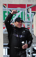 Sept. 25, 2011; Ennis, TX, USA: NHRA top fuel dragster driver Scott Palmer during the Fall Nationals at the Texas Motorplex. Mandatory Credit: Mark J. Rebilas-