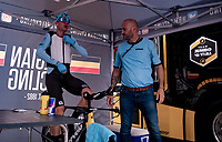Wout van Aert (BEL/Jumbo-Visma) at pre-race warm-up<br /> <br /> Men Elite Individual Time Trial <br /> from Knokke-Heist to Bruges (43.3 km)<br /> <br /> UCI Road World Championships - Flanders Belgium 2021<br /> <br /> ©kramon