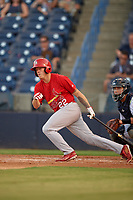 Palm Beach Cardinals left fielder Shane Billings (22) follows through on a swing in front of catcher Sharif Othman (62) during a game against the Tampa Yankees on July 25, 2017 at George M. Steinbrenner Field in Tampa, Florida.  Tampa defeated Palm beach 7-6.  (Mike Janes/Four Seam Images)