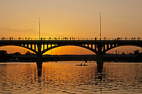 Bats fly from underneath the Congress Bridge in Austin, Texas as kayakers watch the spectacle bat flight during sunset.