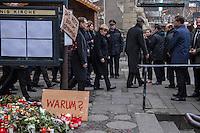Trauer nach Anschlag auf Berliner Weihnachtsmarkt.<br /> Am Abend des 19. Dezember 2016 fuhren Unbekannte mit einem LKW mit polnischen Kennzeichen in den Berliner Weihnachtsmarkt am Kurfuerstendamm und toeteten 12 Menschen, 48 wurden zum Teil schwer verletzt.<br /> Im Bild vlnr.: Berlins Buergermeister Michael Mueller und  Bundeskanzlerin Angela Merkel am Dienstag den 20. Dezember 2016 vor der Kaiser-Wilhelm-Gedaechtniskirche, neben der der Anschlag stattfand.<br /> 20.12.2016, Berlin<br /> Copyright: Christian-Ditsch.de<br /> [Inhaltsveraendernde Manipulation des Fotos nur nach ausdruecklicher Genehmigung des Fotografen. Vereinbarungen ueber Abtretung von Persoenlichkeitsrechten/Model Release der abgebildeten Person/Personen liegen nicht vor. NO MODEL RELEASE! Nur fuer Redaktionelle Zwecke. Don't publish without copyright Christian-Ditsch.de, Veroeffentlichung nur mit Fotografennennung, sowie gegen Honorar, MwSt. und Beleg. Konto: I N G - D i B a, IBAN DE58500105175400192269, BIC INGDDEFFXXX, Kontakt: post@christian-ditsch.de<br /> Bei der Bearbeitung der Dateiinformationen darf die Urheberkennzeichnung in den EXIF- und  IPTC-Daten nicht entfernt werden, diese sind in digitalen Medien nach §95c UrhG rechtlich geschuetzt. Der Urhebervermerk wird gemaess §13 UrhG verlangt.]