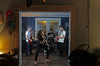 "Local punk band ""Haircut"" performs during a recent practice session in Charlottesville, Va. Members of the band are (from left) Ben James, Juliana Viana, Daniel Russell and Daniel Berti. Photo/Andrew Shurtleff/The Daily Progress"