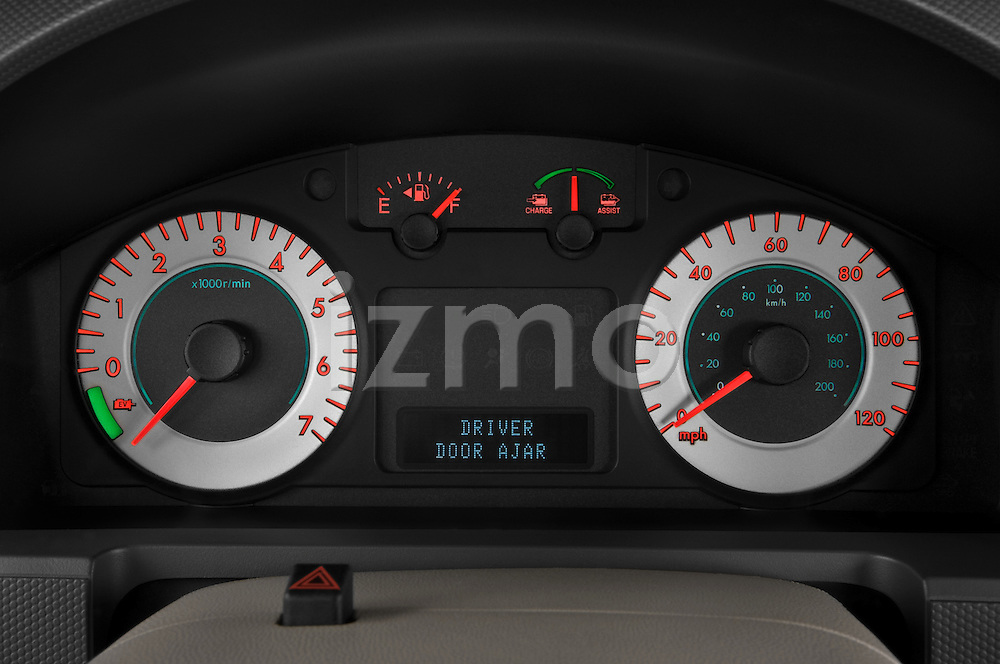 Instrument panel close up detail view of a 2009 Mazda Tribute Hybrid