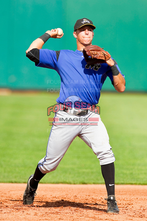 Jake Lamb (18) of the Missoula Osprey during fielding practice prior to the game against the Orem Owlz at Brent Brown Ballpark on July 23, 2012 in Orem, Utah.  The Owlz defeated the Osprey 6-1.  (Brian Westerholt/Four Seam Images)
