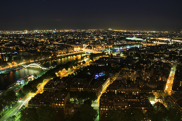Nightime view of Paris from the Eiffel Tower, Paris, France.