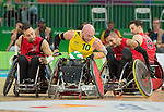 Patrice Simard and Trevor Hirschfield, Rio 2016 - Wheelchair Rugby // Rugby En Fauteuil roulant.<br /> Canada vs. Australia in Wheelchair Rugby Mixed - Pool Phase Group A, Match 12 // Le Canada affronte l'Australie en Rugby en fauteuil roulant mixte - Phase de poule, groupe A, match 12. 16/09/2016.