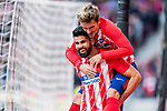 Diego Costa of Atletico de Madrid (bottom) celebrates after scoring his goal with Antoine Griezmann of Atletico de Madrid (top) during the La Liga 2017-18 match between Atletico de Madrid and Athletic de Bilbao at Wanda Metropolitano  on February 18 2018 in Madrid, Spain. Photo by Diego Souto / Power Sport Images