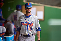 St. Lucie Mets manager Reid Brignac (15) during a game against the Clearwater Threshers on July 1, 2021 at BayCare Ballpark in Clearwater, Florida.  (Mike Janes/Four Seam Images)