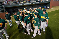 Siena Saints team huddle before a game against the Stetson Hatters on February 23, 2016 at Melching Field at Conrad Park in DeLand, Florida.  Stetson defeated Siena 5-3.  (Mike Janes/Four Seam Images)
