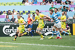 Australia vs Argentina during their Quarter-finals match as part of the HSBC Hong Kong Rugby Sevens 2017 on 09 April 2017 in Hong Kong Stadium, Hong Kong, China. Photo by Weixiang Lim / Power Sport Images
