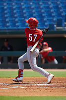 Cooper Kinney (57) of Baylor School in Chattanooga, TN playing for the Cincinnati Reds scout team during the East Coast Pro Showcase at the Hoover Met Complex on August 3, 2020 in Hoover, AL. (Brian Westerholt/Four Seam Images)