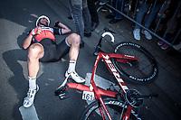 John DEGENKOLB (DEU/Trek-Segafredo) finishes a strong 2nd and crashes to the ground (from the effort) after finishing <br /> <br /> <br /> 82nd Gent – Wevelgem in Flanders Fields 2019 (1.UWT)<br /> Deinze – Wevelgem: 251,5km<br /> ©kramon
