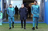 (L-R) Luciano Narsingh, Swansea manager Carlos Carvalhal and Tammy Abraham of Swansea City walks on the pitch prior to the game during the Premier League match between Brighton and Hove Albion and Swansea City and at the Amex Stadium, Brighton, England, UK. Saturday 24 February 2018