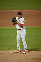 Johnson City Cardinals relief pitcher Oneiver Diaz (28) gets ready to deliver a pitch during the second game of a doubleheader against the Princeton Rays on August 17, 2018 at Hunnicutt Field in Princeton, Virginia.  Princeton defeated Johnson City 12-1.  (Mike Janes/Four Seam Images)