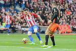 Atletico de Madrid's Miguel Angel Moyá and Valencia CF's Joao Cancelo during La Liga match between Atletico de Madrid and Valencia CF at Vicente Calderon Stadium  in Madrid, Spain. March 05, 2017. (ALTERPHOTOS/BorjaB.Hojas)
