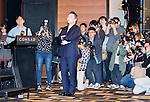 """Psy, Nov 30, 2015 : South Korean singer Psy (C) looks his new music videos played on a screen during a press conference about his new 7th album in Seoul, South Korea. Psy's 7th album has nine tracks with two leading tunes, """"Napal Baji (Bellbottoms)"""" and """"Daddy"""". International artists such as will.i.am, Ed Sheeran and Zion T are featured as guest performers in the album. (Photo by Lee Jae-Won/AFLO) (SOUTH KOREA)"""