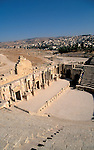 Jordan, Jerash. The South Theatre, the Forum is in the back&#xA;<br />