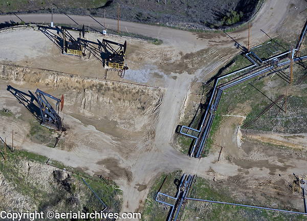 aerial photograph of oil pumpjacks in the San Ardo Oil Field, Monterey County, California