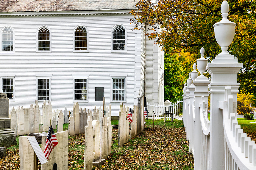 Old First Church and historic cemetery.