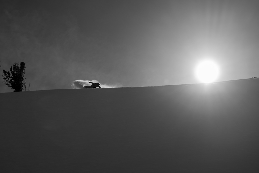 Jeremy Jones carving the horizon on Carson Pass. Back-lit shots are some of our favorites