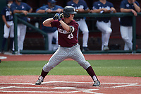 Josh Finerty (43) of the Bellarmine Knights at bat against the Liberty Flames at Liberty Baseball Stadium on March 9, 2021 in Lynchburg, VA. (Brian Westerholt/Four Seam Images)
