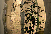 Early evening sun catches old tombstones at the Suleymaniye Mosque, Istanbul, Turkey