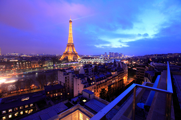 Rooftop view of Eiffel Tower from newly opened Hotel Shangri-La Paris. Paris. France