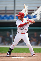 Auburn Doubledays first baseman Oliver Ortiz (18) at bat during a game against the Vermont Lake Monsters on July 13, 2016 at Falcon Park in Auburn, New York.  Auburn defeated Vermont 8-4.  (Mike Janes/Four Seam Images)