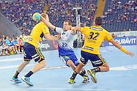 Bjarne Myrhol und Alexander Petersson (Löwen) gegen Kentin Mahe (HSV) - Tag des Handball, Rhein-Neckar Löwen vs. Hamburger SV, Commerzbank Arena